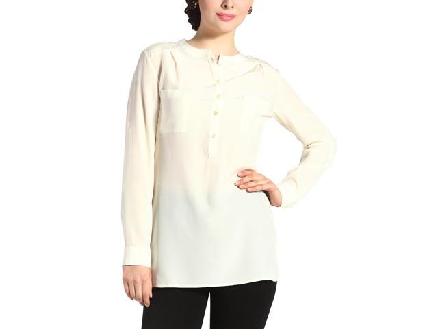 Sandals Cay Women's 'Penny' Silk Rolled Sleeve Shirt - Cream 14
