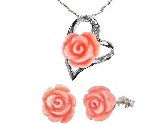Red Coral Rose Heart Silver Pendant Necklace & Stud Earrings Set (18