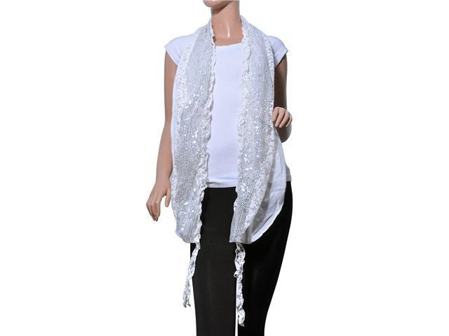Fancy Sequins Wild Flower Double Layers Knitted Long Scarf(White)-Various Colors