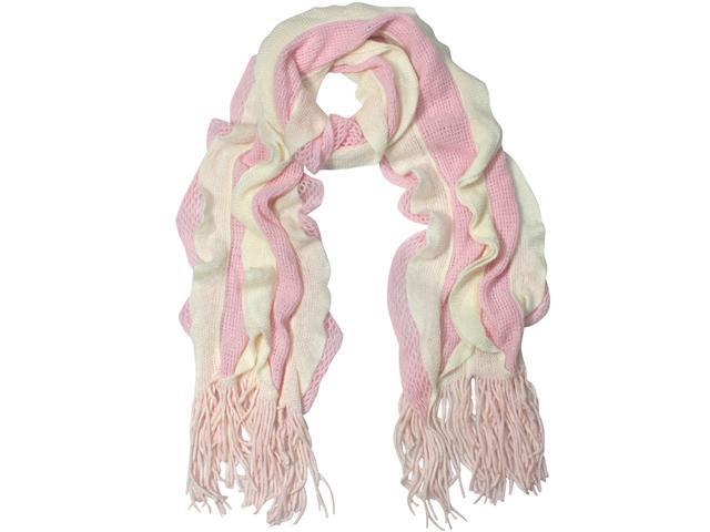 100% Acrylic Fashion Wavy Ruffle Knitted Tassel Ends Long Scarf - Pink