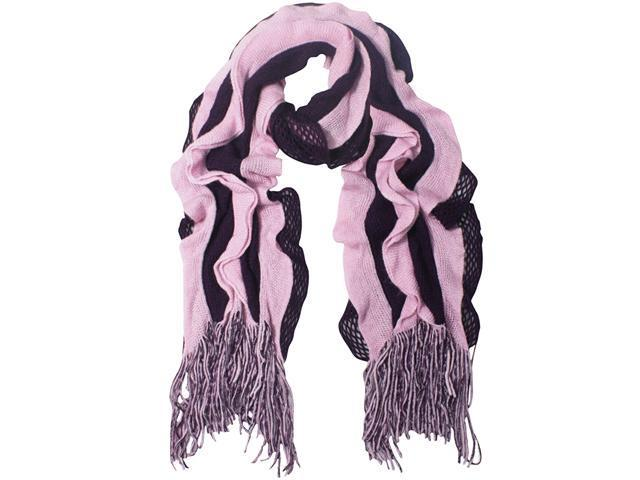Dahlia 100% Acrylic Fashion Wavy Ruffle Knitted Tassel Ends Long Scarf - 16x63 inches (71 inches with fringe) - Purple