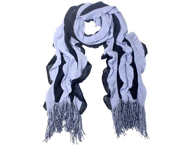 100% Acrylic Fashion Wavy Ruffle Knitted Tassel Ends Long Scarf - Blue