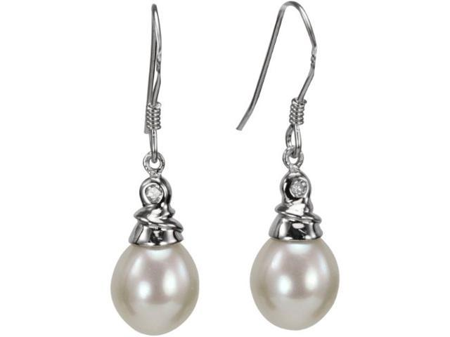 Dahlia 8-9mm AAAA White Pearl Drop with Crystal Top Platinum Overlay Silver Earrings