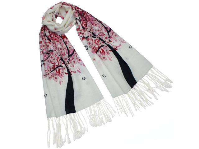 Dahlia Women's 100% Merino Wool Pashmina Scarf - Spring Butterfly Blossom Tree