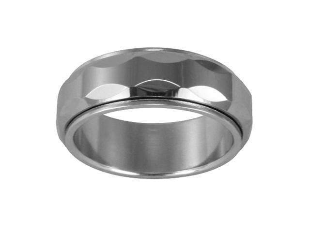Tungsten 8mm Oval Faceted Spinner Band Ring (Size 7)