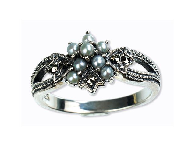 Star Gaze Silver Natural Seed Pearl Ring (Size 7)