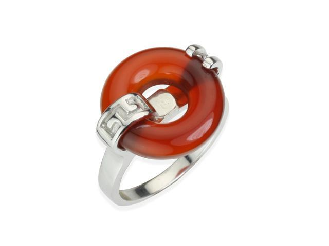 Good Luck Red Jade Platinum Overlay Sterling Silver Ring (Size 5)