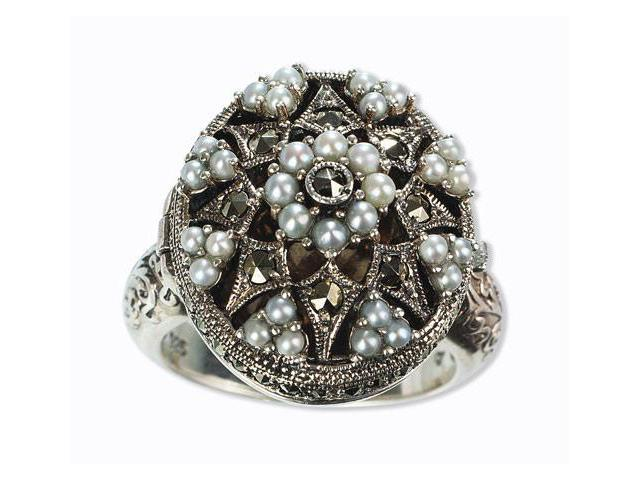 Poison Silver Locket Natural Seed Pearl Ring (Size 6)