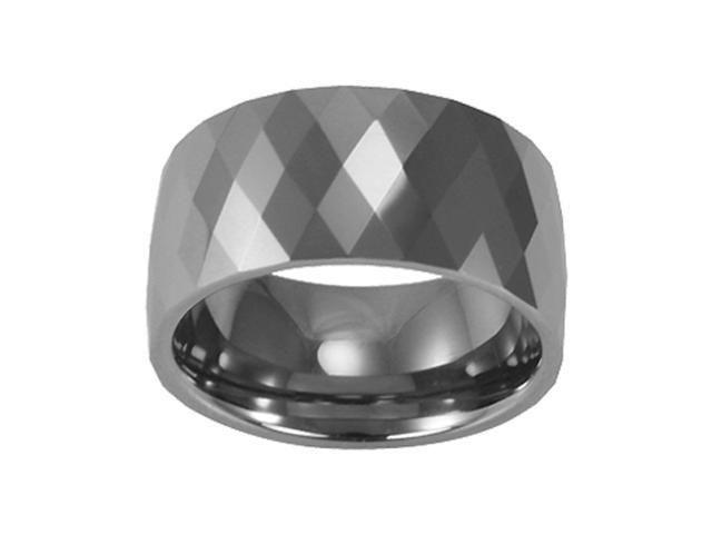 Tungsten 12mm Diamond-Shape Faceted Comfort Fit Domed Band Ring (Size 10)