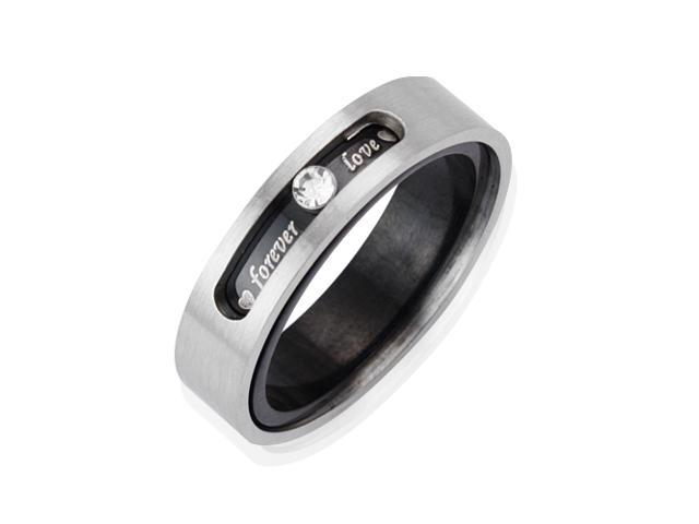 Men's 5.1mm Dual Layer Stainless Steel CZ Forever Love Twistable Band Ring Men (Sizes 7-10)