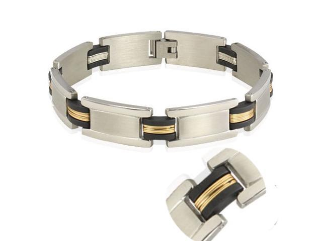 Men's Stainless Steel 13mm Gold Tone Wire Wrap Rubber Link Bracelet 8.5