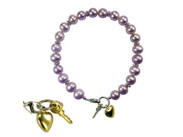 Key to My Heart Silver Charm Cultured Pearl Baby Bracelet 5