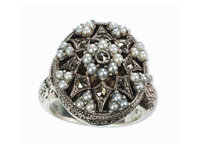 Poison Silver Locket Natural Seed Pearl Ring (Size 5)