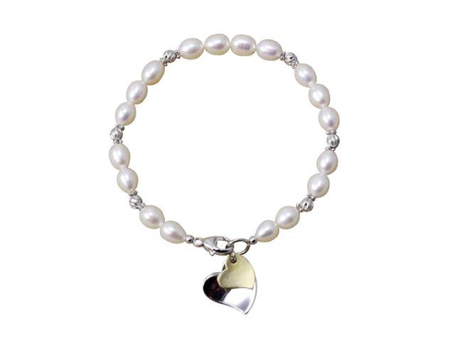Silver Twist White Cultured Pearl Bracelet w. Double Heart Shaped Charm