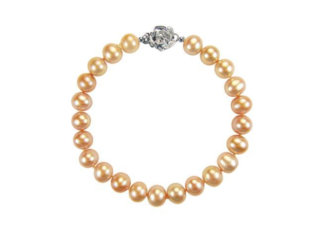 Peach Pink 6-7mm AAA Cultured Pearl Silver Rose Clasp Bracelet 7