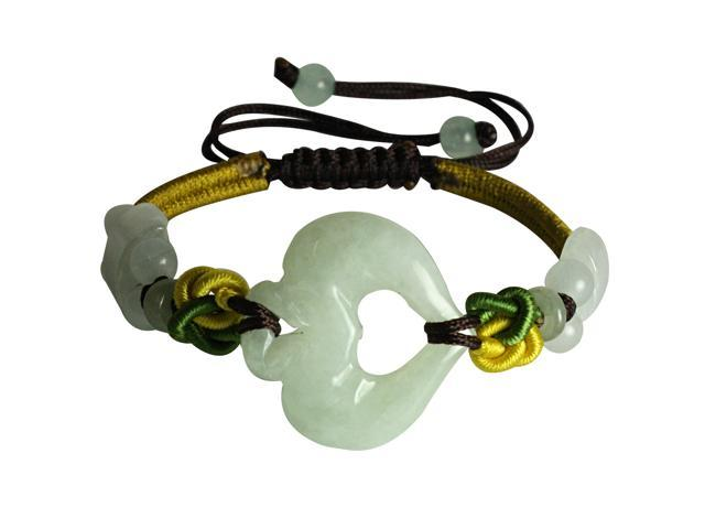 Multi Colored Adorning Jade Heart Adjustable Bracelet