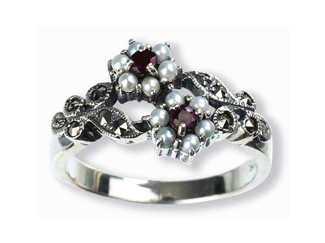 Gemini Silver Natural Seed Pearl Ring, Ruby (Size 7)