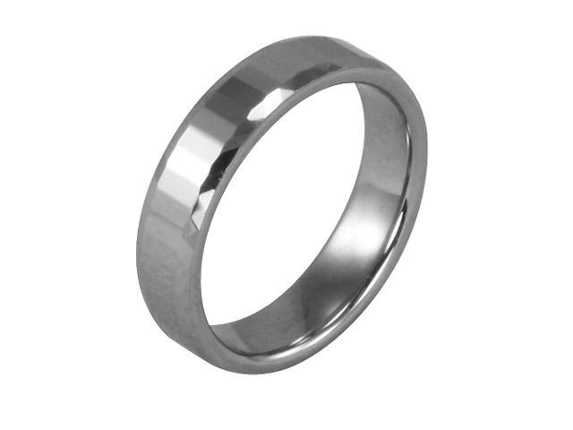 Tungsten 5.1mm Faceted Comfit Fit Band Ring (Size 10)
