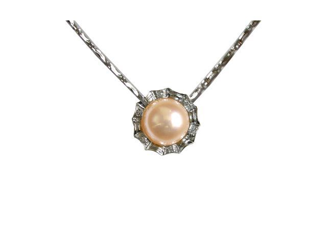 Crystal Circlet Pearl Platinum Overlay Silver Pendant Necklace, Peach Pink 16
