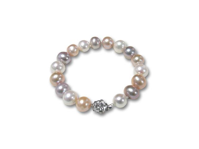 Tricolor White Lavender Peach 10-11mm AA+ Cultured Pearl Silver Bracelet 7