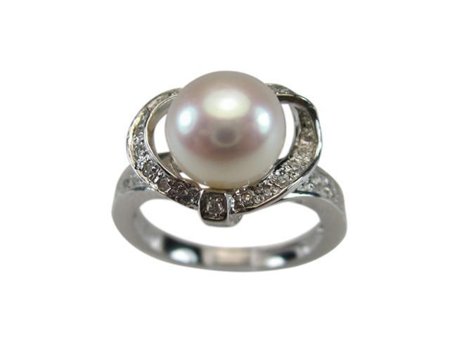 Sweet Heart Cubic Zirconia White Pearl Platinum Over Silver Ring Size 8