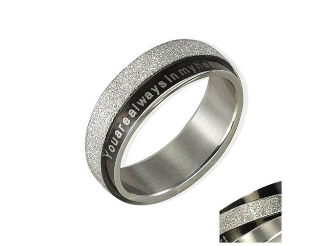 Stainless Steel Black Sparkle You are always in my heart 6mm Band Ring Men Sz 9