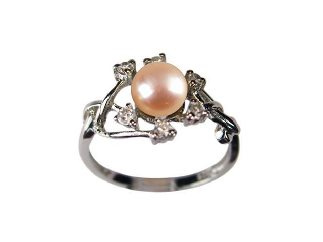 Entwining Vine Pearl Cubic Zirconia Platinum Overlay Silver Ring Peach Size 8