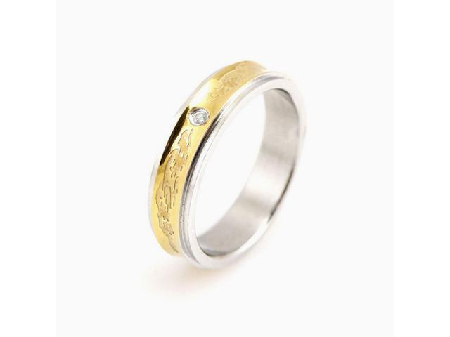 Stainless Steel Concave Gold Inlay Dragon Cubic Zirconia Band Ring Women Size 8