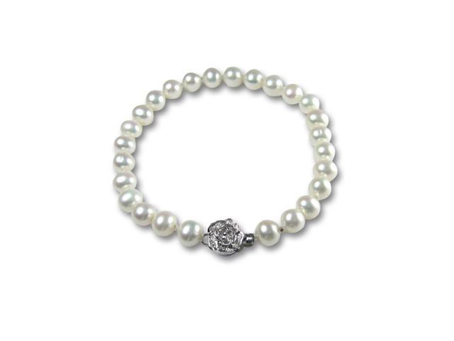 White 6-7mm AAA Cultured Pearl Sterling Silver Rose Clasp Bracelet 7