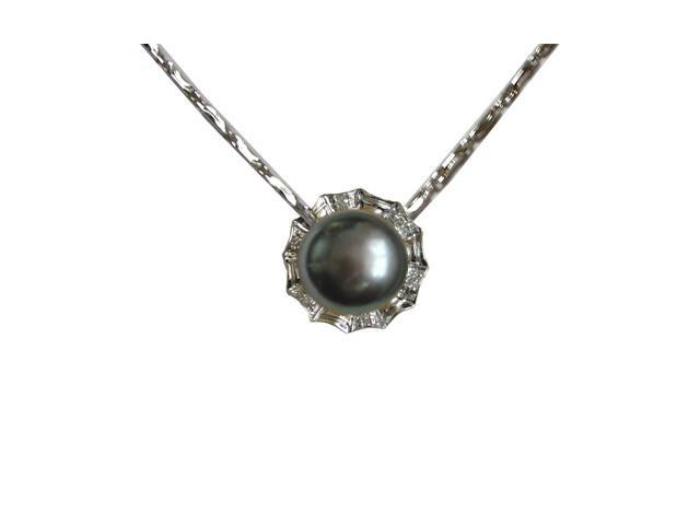 Crystal Circlet Pearl Platinum Overlay Silver Pendant Necklace, Dyed Black 18