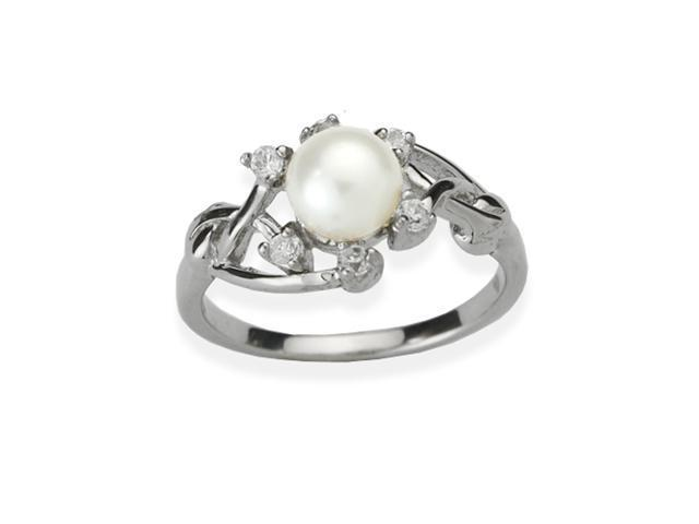 Entwining Vine Pearl Cubic Zirconia Platinum Overlay Silver Ring White Size 7