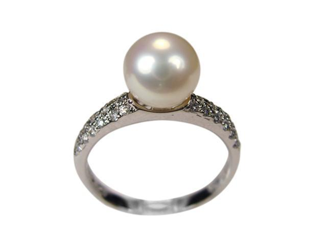 Diamond River White Pearl Cubic Zirconia Platinum Overlay Silver Ring Size 6