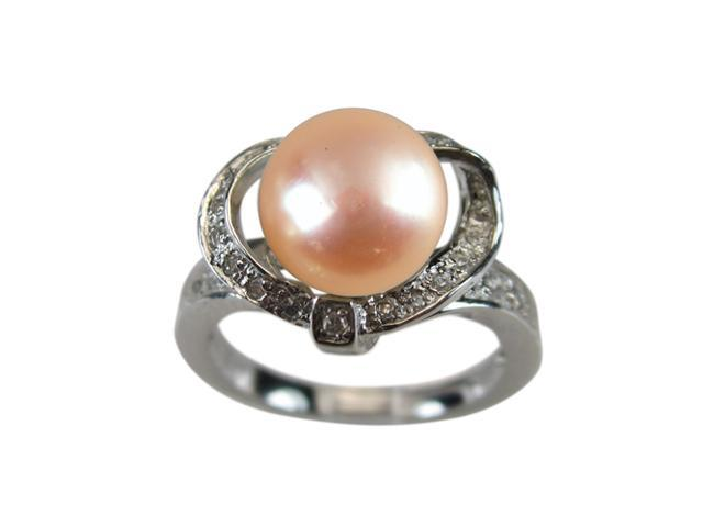 Sweet Heart Cubic Zirconia Peach Pearl Platinum Over Silver Ring Size 8