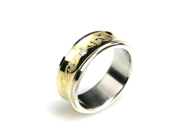 Stainless Steel Concave Gold Inlay Dragon Cubic Zirconia Band Ring Men Size 10