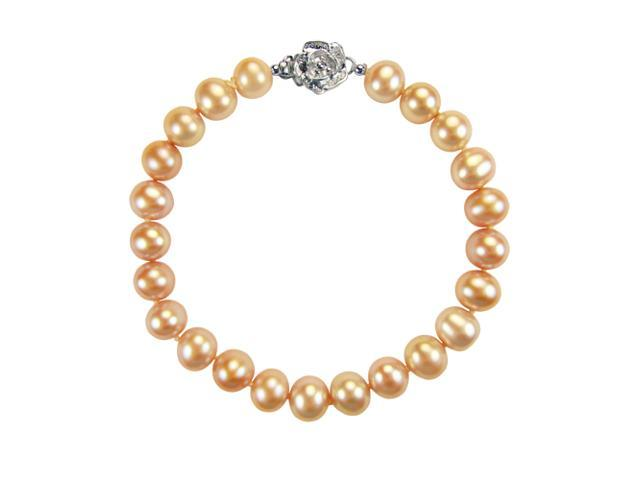 Peach Pink 7-8mm AAA Cultured Pearl Silver Rose Clasp Bracelet 7