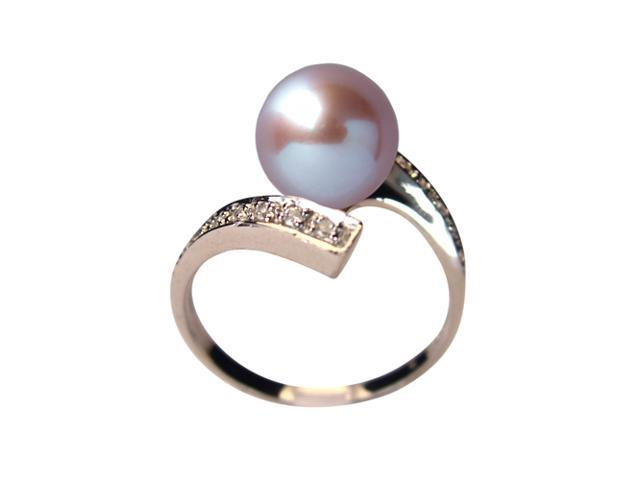 Twilight Reunion Lavender Pearl Cubic Zirconia Platinum Over Silver Ring Size 6