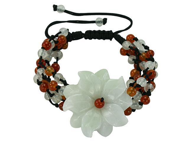 Daisy Dust Red and Green Jadeite Jade Black Cord Bracelet