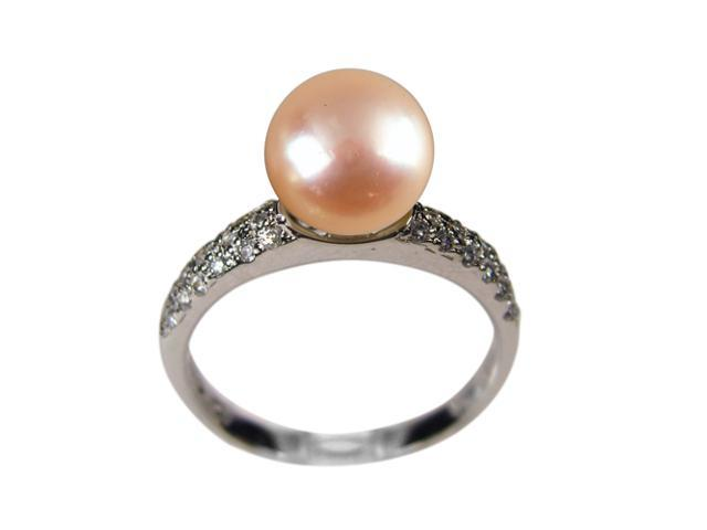 Diamond River Peach Pearl Cubic Zirconia Platinum Overlay Silver Ring Size 8