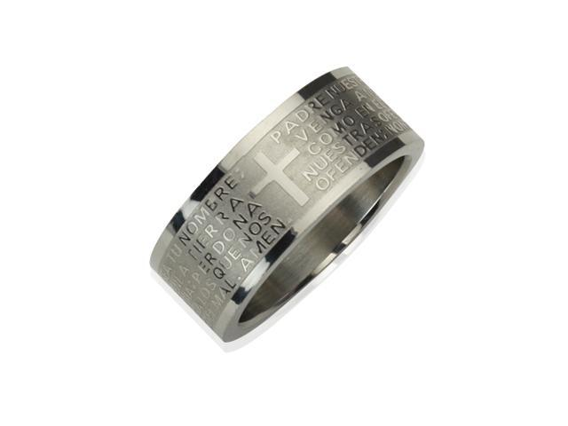 Stainless Steel Spanish Lord's Prayer 8mm Band Ring - Men (Size 10)