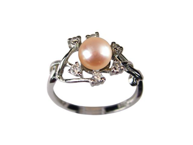 Entwining Vine Pearl Cubic Zirconia Platinum Overlay Silver Ring Peach Size 9