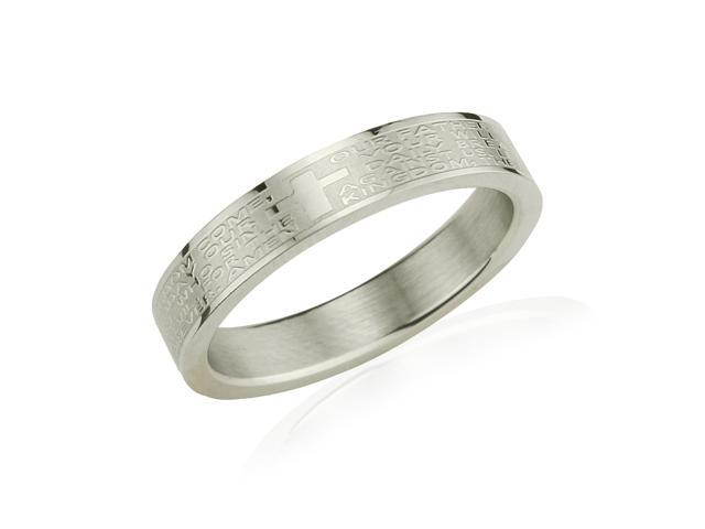Stainless Steel English Lord's Prayer 4mm Band Ring - Women (Size 6)