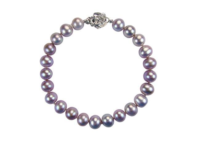 Lavender 7-8mm AAA Cultured Pearl Sterling Silver Rose Clasp Bracelet 7