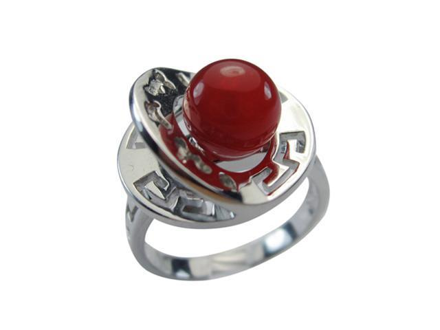 Red Jade Fortune Luck Health Longevity Chinese Symbol Sterling Silver Ring Size5
