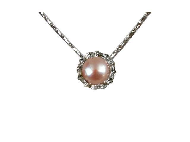 Crystal Circlet Pearl Platinum Overlay Silver Pendant Necklace, Lavender 16
