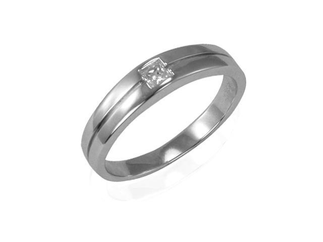 Princess Cut Diamond Cubic Zirconia Platinum Over Silver Band Ring, Women Size 5