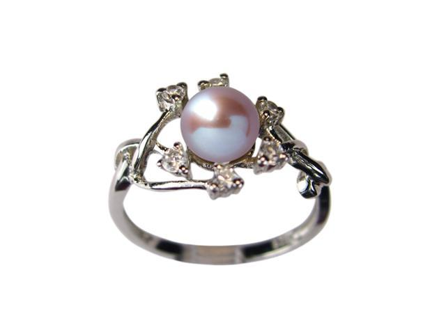 Entwining Vine Pearl Cubic Zirconia Platinum Overlay Silver Ring Lavender Size 5