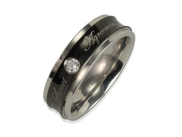 Stainless Steel Concave Black CZ