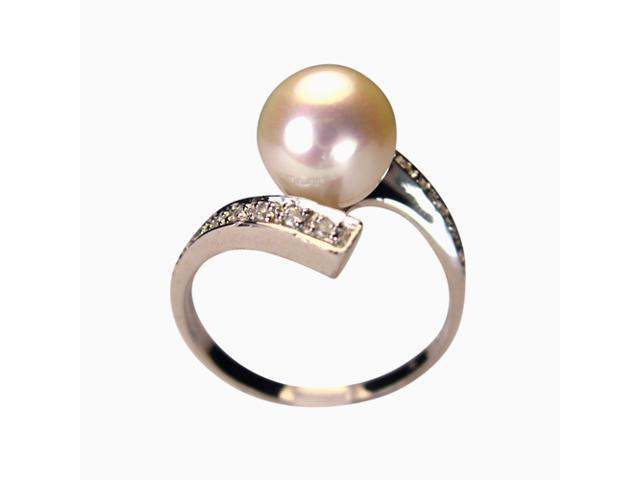 Twilight Reunion White Pearl Cubic Zirconia Platinum Over Silver Ring Size 6