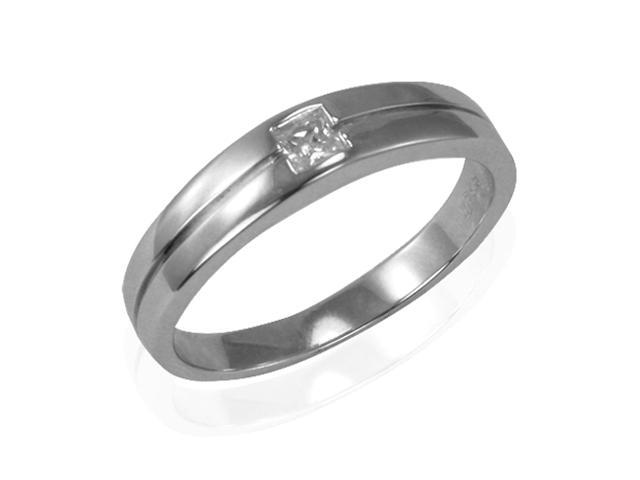 Princess Cut Diamond Cubic Zirconia Platinum Over Silver Band Ring, Men Size 12