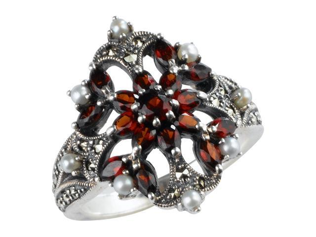 Garnet Fire Burst Silver Natural Seed Pearl Ring (Size 8) - Various sizes